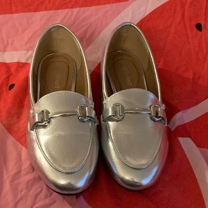 Brand New Metallic Silver Loafers